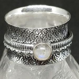 Moonstone Mermaid Double Spinner Ring sz 8